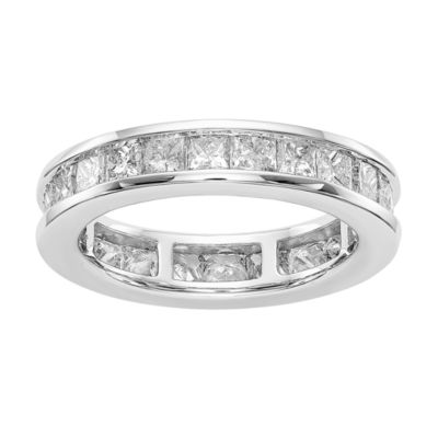 Womens 4.5mm 3 CT. T.W. Genuine White Diamond 14K White Gold Round Eternity Band