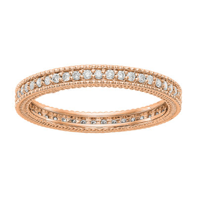 Womens 2.5mm 1/3 CT. T.W. Genuine White Diamond 14K Rose Gold Round Eternity Band