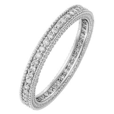 Womens 2.5MM 1/3 CT. T.W. Genuine White Diamond 14K White Gold Round Eternity Band