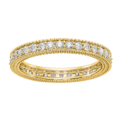 Womens 3MM 3/4 CT. T.W. Genuine White Diamond 14K Gold Round Eternity Band
