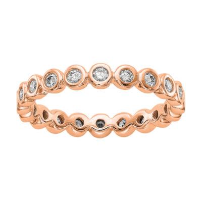 Womens 3mm 1/2 CT. T.W. Genuine White Diamond 14K Rose Gold Round Eternity Band