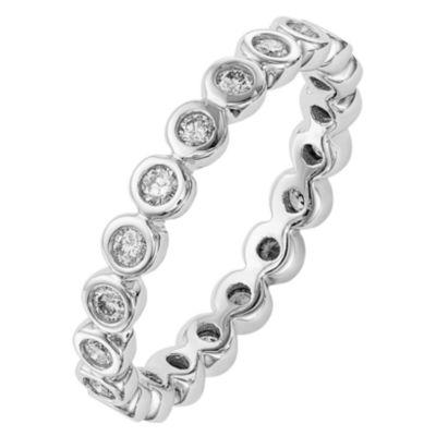 Womens 3mm 1/2 CT. T.W. Genuine White Diamond 14K White Gold Round Eternity Band