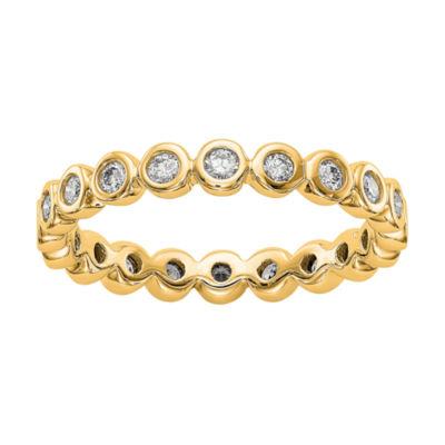 Womens 3MM 1/2 CT. T.W. Genuine White Diamond 14K Gold Round Eternity Band