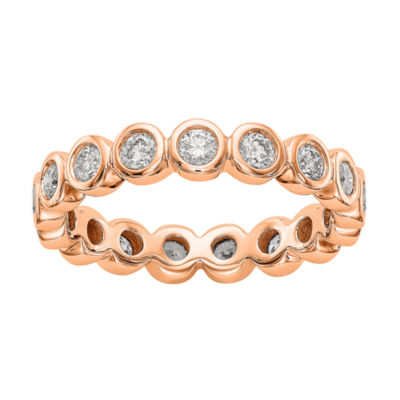 Womens 4mm 1 CT. T.W. Genuine White Diamond 14K Rose Gold Round Eternity Band