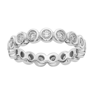 Womens 4mm 1 CT. T.W. Genuine White Diamond 14K White Gold Round Eternity Band