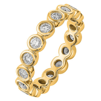Womens 4mm 1 CT. T.W. Genuine White Diamond 14K Gold Round Eternity Band