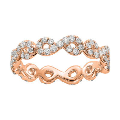 Womens 4mm 7/8 CT. T.W. Genuine White Diamond 14K Rose Gold Infinity Eternity Band