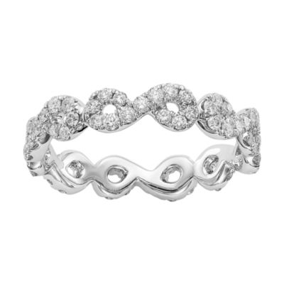 Womens 4mm 7/8 CT. T.W. Genuine White Diamond 14K White Gold Infinity Eternity Band