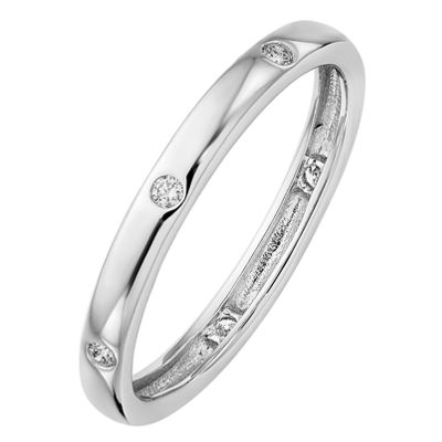 Womens 2.5MM 1/10 CT. T.W. Genuine White Diamond 14K White Gold Round Eternity Band