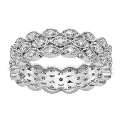 Womens 6.5mm 1/2 CT. T.W. Genuine White Diamond 14K White Gold Round Eternity Band