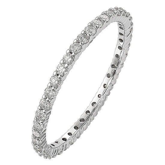Womens 1/2 CT. T.W. Genuine White Diamond 14K White Gold Round Eternity Band