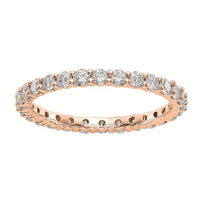 Womens 2mm 1 CT. T.W. Genuine White Diamond 14K Rose Gold Round Eternity Band