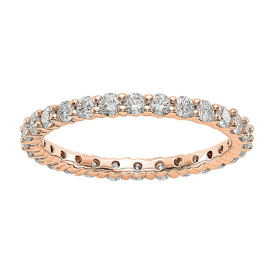 2MM 1 CT. T.W. Genuine White Diamond 14K Rose Gold Round Eternity Band