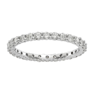 Womens 2mm 1 CT. T.W. Genuine White Diamond 14K White Gold Round Eternity Band