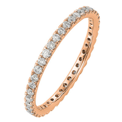 Womens 2mm 1/2 CT. T.W. Genuine White Diamond 14K Rose Gold Round Eternity Band