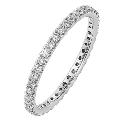 Womens 2mm 1/2 CT. T.W. Genuine White Diamond 14K White Gold Round Eternity Band