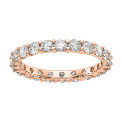 Womens 3mm 2 CT. T.W. Genuine White Diamond 14K Rose Gold Round Eternity Band