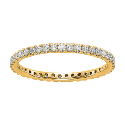 Womens 2mm 1/2 CT. T.W. Genuine White Diamond 14K Gold Round Eternity Band