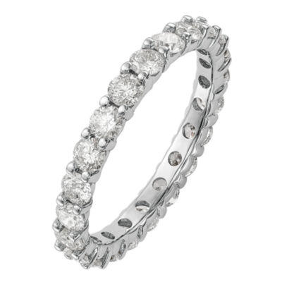Womens 3mm 2 CT. T.W. Genuine White Diamond 14K White Gold Round Eternity Band
