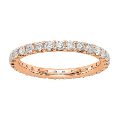 Womens 2.5mm 1 CT. T.W. Genuine White Diamond 14K Rose Gold Round Eternity Band