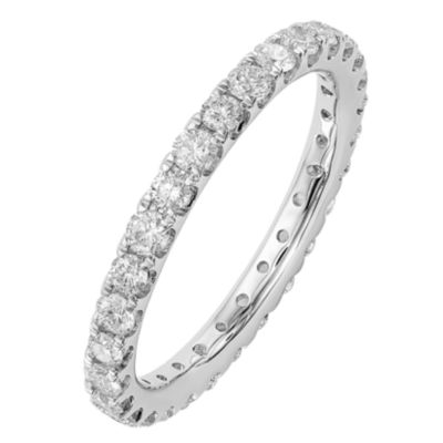 Womens 2.5mm 1 CT. T.W. Genuine White Diamond 14K White Gold Round Eternity Band