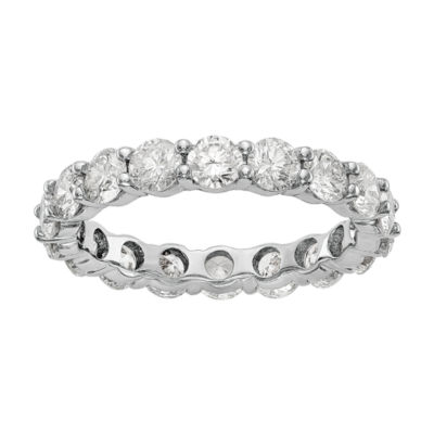 Womens 3.5MM 3 CT. T.W. Genuine White Diamond 14K White Gold Round Eternity Band