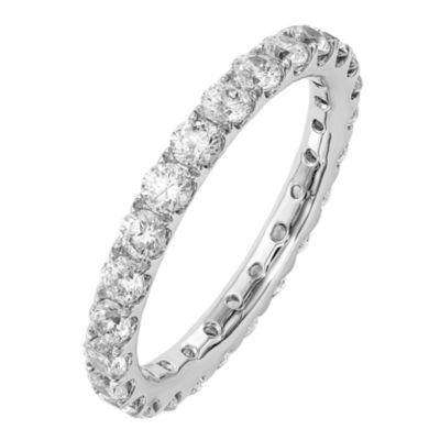 Womens 2.5mm 1 1/2 CT. T.W. Genuine White Diamond 14K White Gold Round Eternity Band