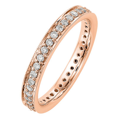 Womens 3mm 1/2 CT. T.W. Genuine White Diamond 14K Rose Gold Round Eternity Band