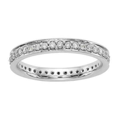 Womens 3mm 1/2 CT. T.W. Genuine White Diamond 14K White Gold Round Eternity Band