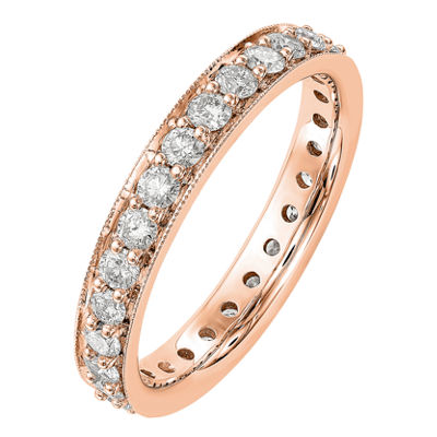 Womens 3mm 1 CT. T.W. Genuine White Diamond 14K Rose Gold Round Eternity Band