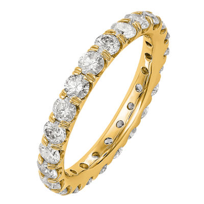 Womens 3mm 2 CT. T.W. Genuine White Diamond 14K Gold Round Eternity Band