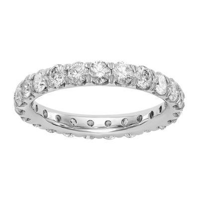 Womens 3.5mm 3 CT. T.W. White Diamond 14K White Gold Round Eternity Band