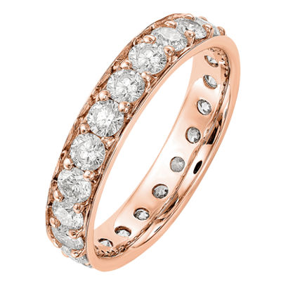 Womens 4mm 2 CT. T.W. Genuine White Diamond 14K Rose Gold Round Eternity Band
