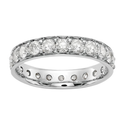 Womens 4mm 2 CT. T.W. Genuine White Diamond 14K White Gold Round Eternity Band