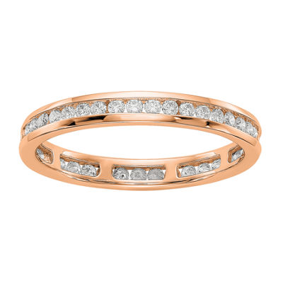 Womens 2.5mm 1/2 CT. T.W. Genuine White Diamond 14K Rose Gold Round Eternity Band