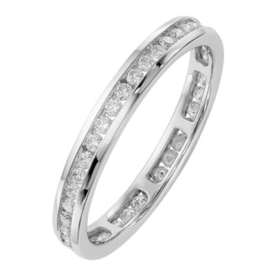 Womens 2.5mm 1/2 CT. T.W. Genuine White Diamond 14K White Gold Round Eternity Band