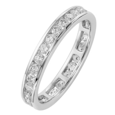 Womens 3MM 1 CT. T.W. Genuine White Diamond 14K White Gold Round Eternity Band