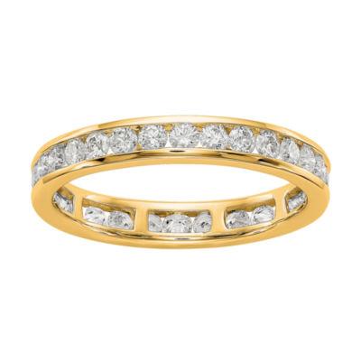 Womens 3mm 1 CT. T.W. Genuine White Diamond 14K Gold Round Eternity Band