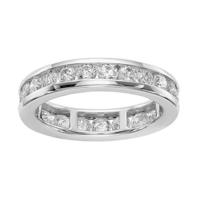 Womens 4.5mm 1 1/2 CT. T.W. Genuine White Diamond 14K White Gold Round Eternity Band