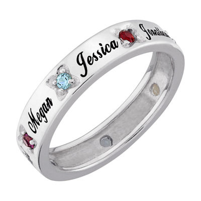 Personalized Womens Crystal Sterling Silver Cocktail Ring