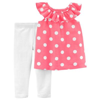 Carter's Flutter Sleeve Tee & Legging 2 Piece Set - Preschool Girls
