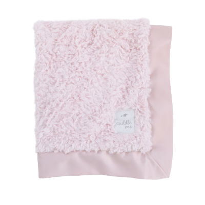 Cuddle Me Cuddle Plush Blanket with Matte Satin Border - Pink