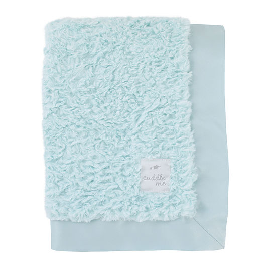 Cuddle Me Luxury Plush Blanket with Matte Satin Border - Blue