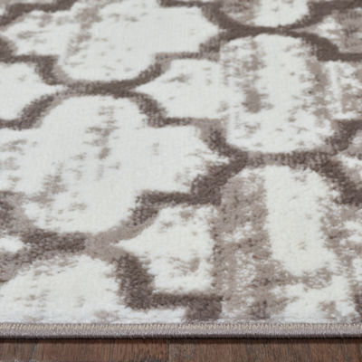Matrix Distressed Quatrefoil Rectangular Rug