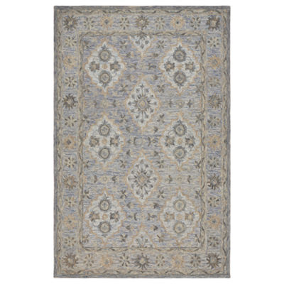 Modern Traditions Contemporary Damask RectangularRug with Medallion