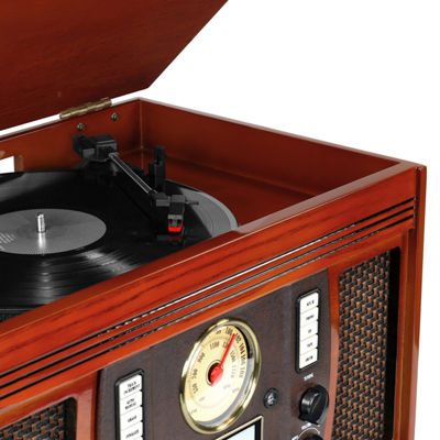 Victrola VTA-750B+-MAH Aviator Wooden 7-in-1 Nostalgic Record Player with Bluetooth and Digital CD Encoding - Glossy Dark Brown Finish