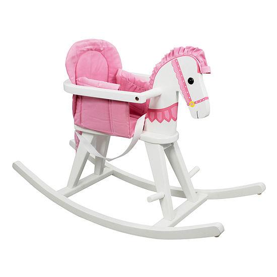 Teamson Kids- Safari White Rocking Horse w/Pink Pad