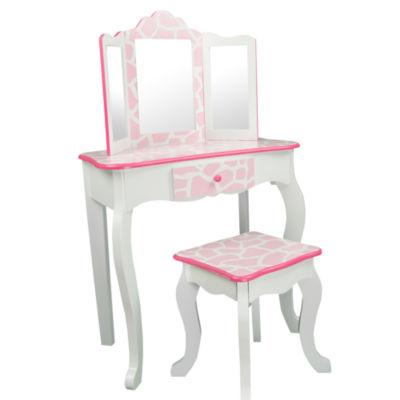 Teamson Kids Fashion Prints Vanity & Stool Set with Mirror Giraffe (Baby Pink / White)