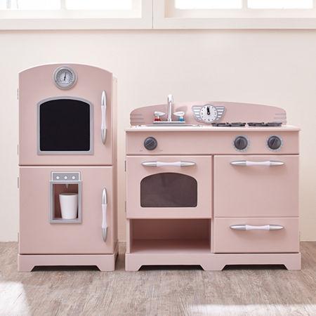 Teamson Kids Retro Pink Play Kitchen (2 Pieces), One Size , Pink