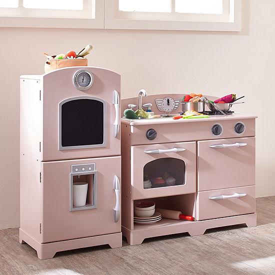 Teamson Kids Retro Pink Play Kitchen (2 Pieces)